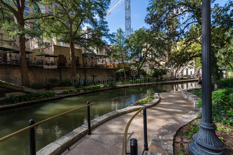 Beroemd Toneelsan Antonio River Walk in Texas stock fotografie