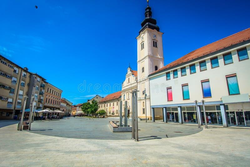 Beroemd vierkant in Cakovec, Kroatië stock fotografie