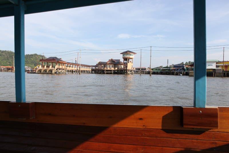 Beroemd Waterdorp in Brunei Borneo stock afbeeldingen