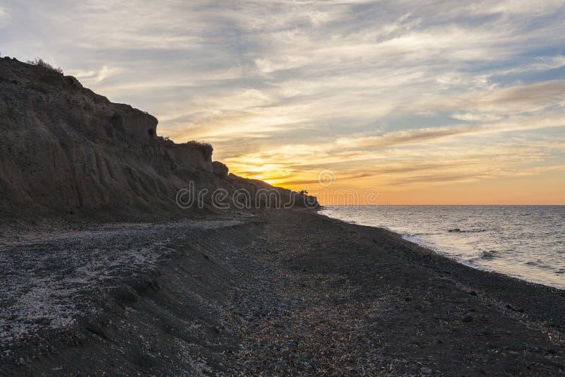 Beroemd zwart strand in Santorini royalty-vrije stock foto