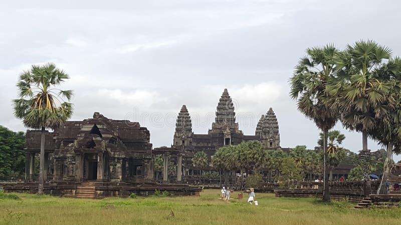 Beroemde Angkor Wat in Siem oogst stock foto