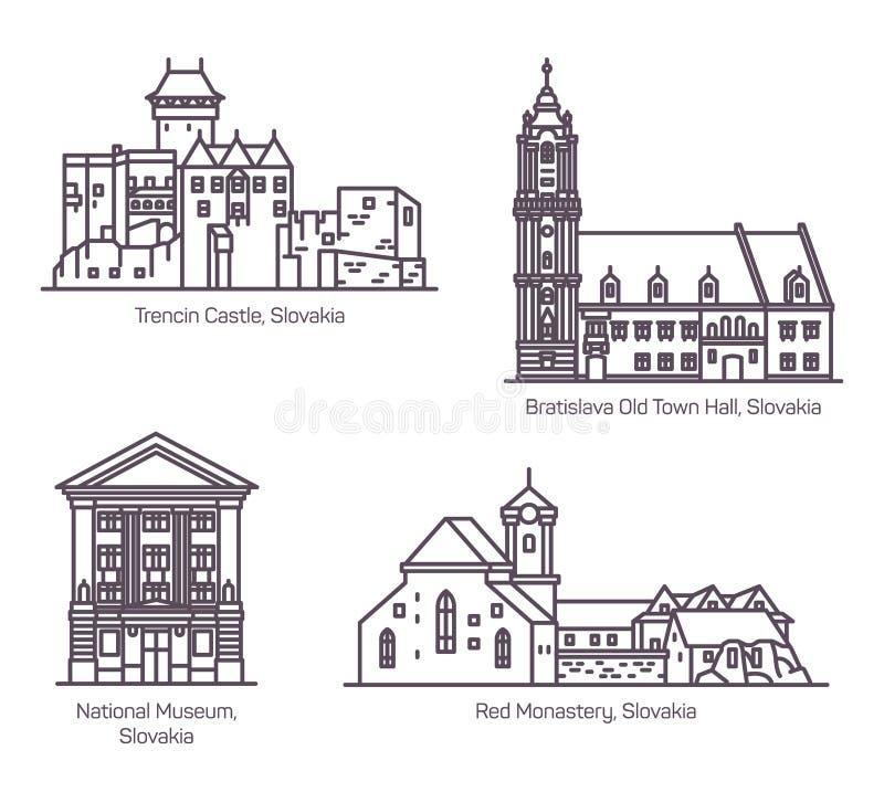 Beroemde architectuurgebouwen van Slowakije in lijn royalty-vrije illustratie