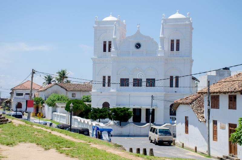 Beroemde bezienswaardigheidkerk in Galle-Fort Meeran Jumma Masjid in Sri Lanka royalty-vrije stock afbeeldingen