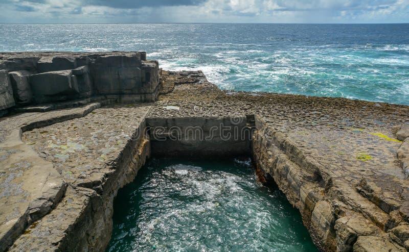 Beroemde bPeist van de Opiniepeilingsna van ` Wormhole ` in Gaëlisch in Inishmore, Aran Islands, Ierland royalty-vrije stock afbeeldingen