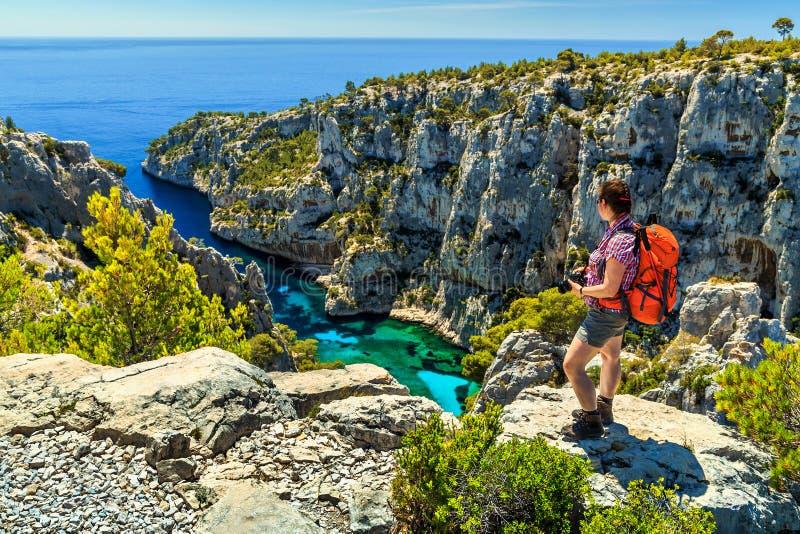 Beroemde Calanques D& x27; Engelse Vau in Cassissen dichtbij Marseille, Frankrijk stock fotografie