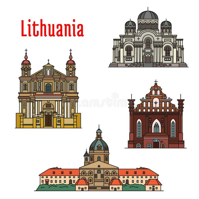 Beroemde de architectuurpictogrammen van Litouwen stock illustratie