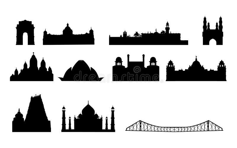 Beroemde de oriëntatiepuntenvector van India vector illustratie