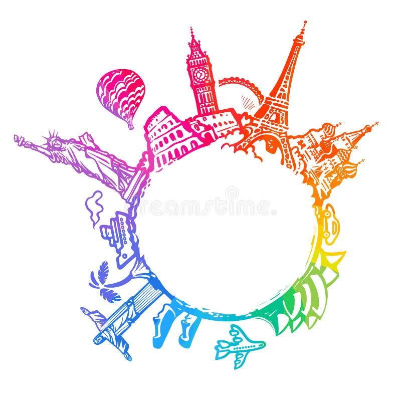 Beroemde die wereldoriëntatiepunten rond de bol worden gevestigd Ontwerp voor reis en toerisme met exemplaarruimte Hand getrokken vector illustratie
