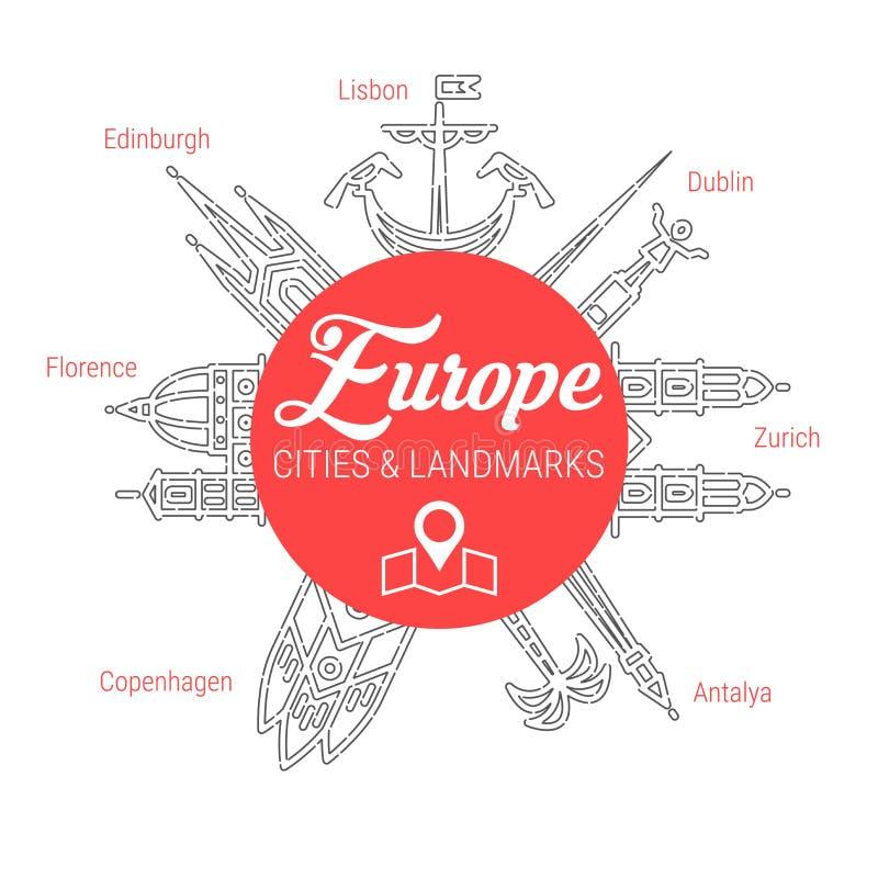 Beroemde Europese oriëntatiepunten Reeks van het lijn de Vectorpictogram vector illustratie