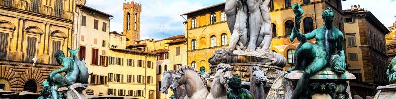 Beroemde Fontein van Neptunus in Florence, Italië stock afbeelding