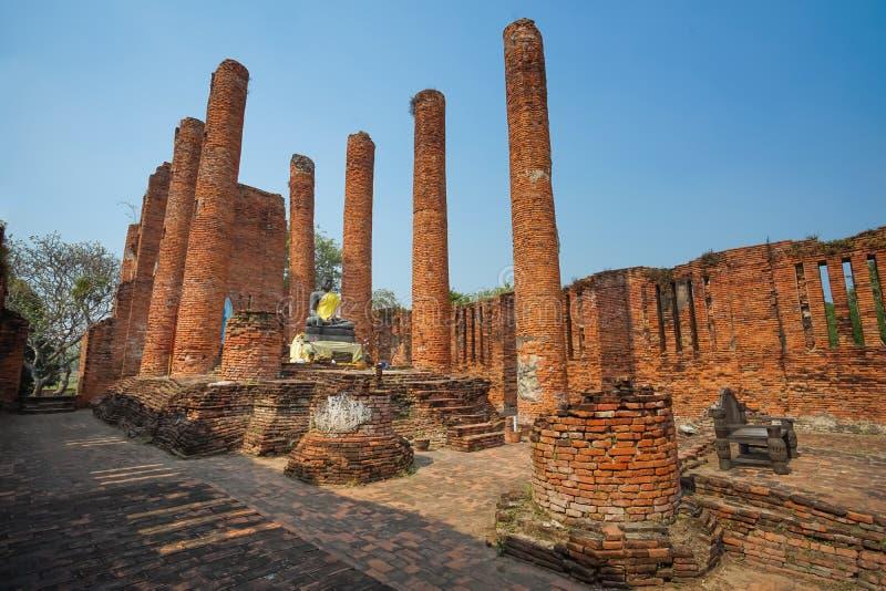 Beroemde Geruïneerde Boeddhismekerk in Wat Thammikarat royalty-vrije stock fotografie