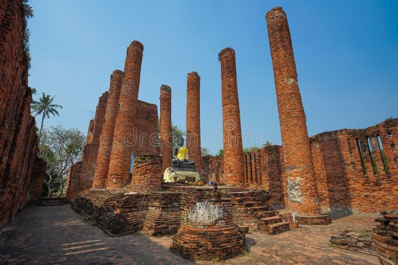 Beroemde Geruïneerde Boeddhismekerk in Wat Thammikarat stock afbeelding