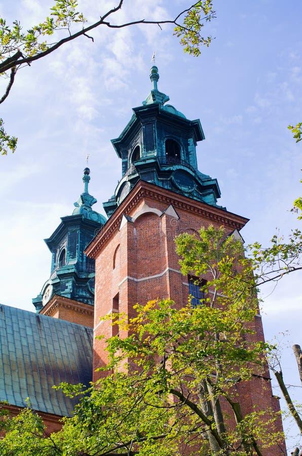 Beroemde kerk in Gniezno, Polen stock foto's
