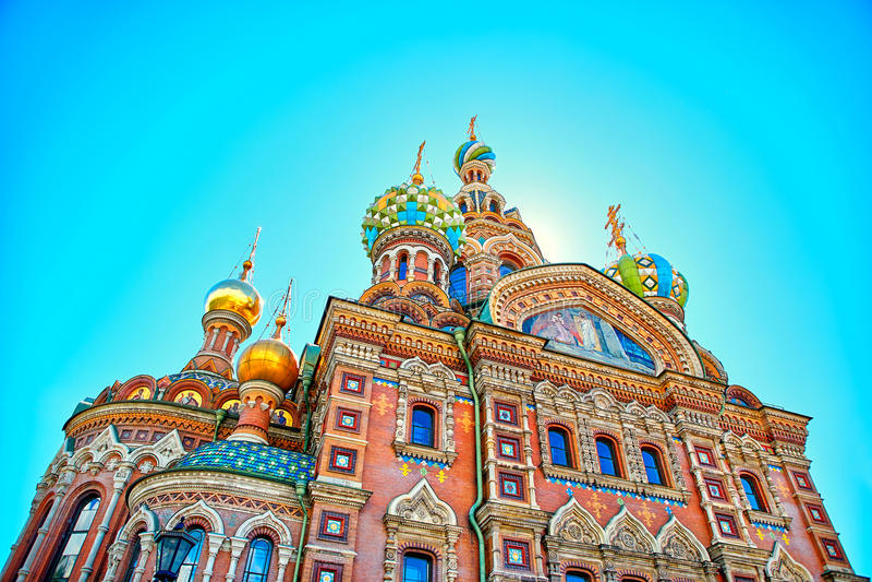 Beroemde kerk van de Verlosser op Gemorst Bloed in Heilige Petersburg stock foto