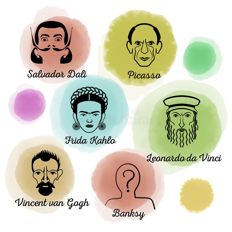 Beroemde Kunstenaar Icon Set stock illustratie
