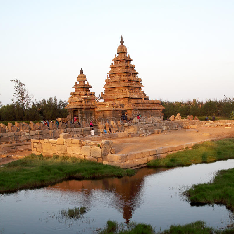 Beroemde kusttempel Mahabalipuram, Tamil Nadu, India royalty-vrije stock afbeelding