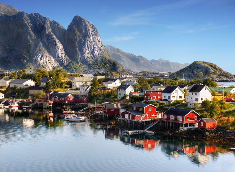 Beroemde Lofoten, het Landschap van Noorwegen, Nordland stock foto