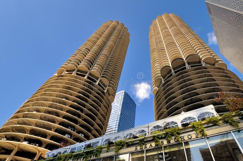 Beroemde Marina City Towers, Chicago royalty-vrije stock foto's