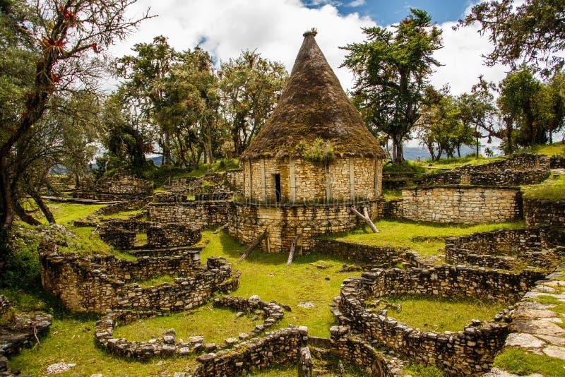 Beroemde mening van Verloren stad Kuelap, Peru stock fotografie