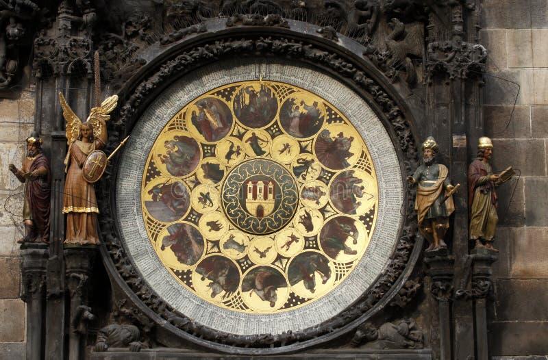 Beroemde middeleeuwse astronomische klok in Praag royalty-vrije stock foto