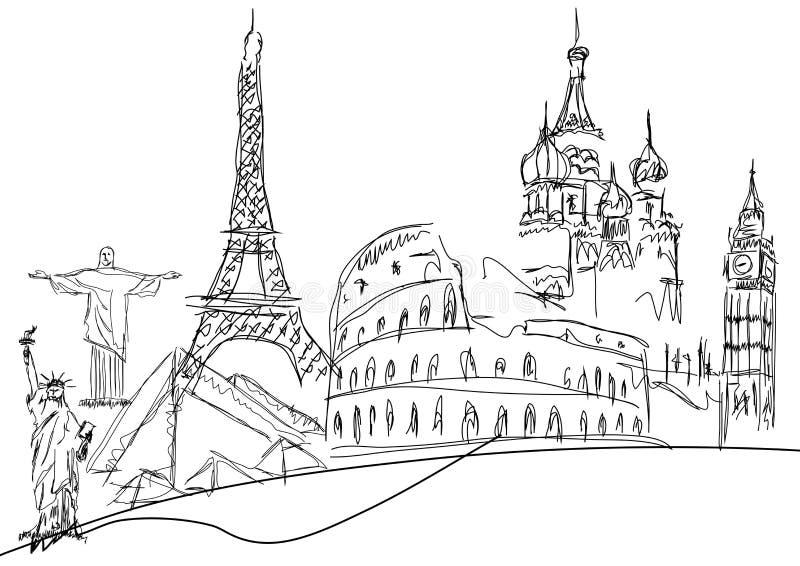 Beroemde monumenten vector illustratie