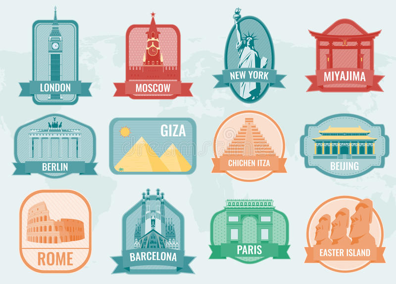 Beroemde monumenten en oriëntatiepunteninzamelingsetiketten Het concept van de reis en van het toerisme Vector vector illustratie