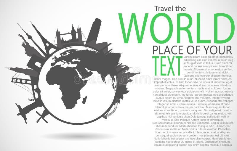 Beroemde monumenten rond wereld royalty-vrije illustratie