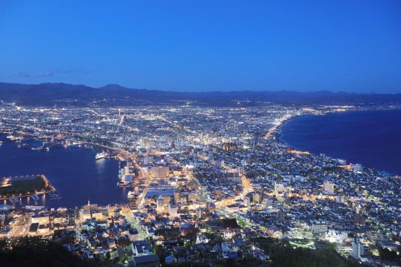 beroemde nachtscènes in Hakodate, Hokkaido, Japan stock foto
