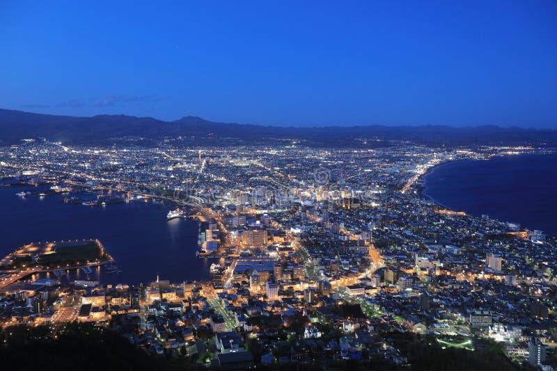 beroemde nachtscènes in Hakodate, Hokkaido, Japan stock afbeeldingen