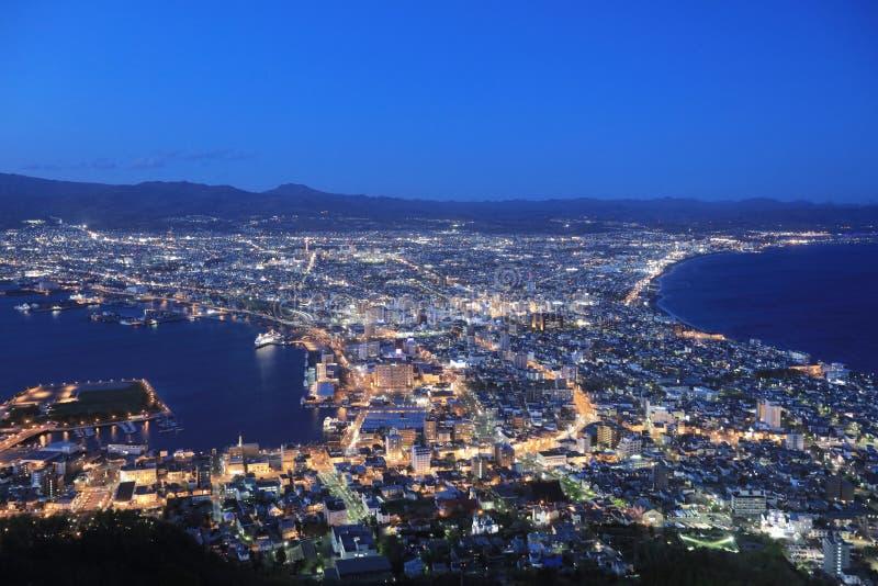 beroemde nachtscènes in Hakodate, Hokkaido, Japan royalty-vrije stock afbeeldingen