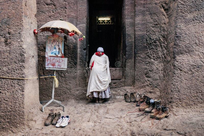 Beroemde oude orthodoxe rots gehouwen kerken van lalibela Ethiopië stock foto