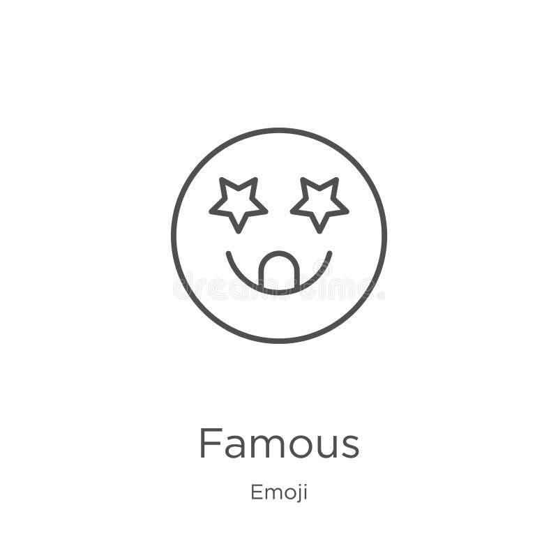 beroemde pictogramvector van emojiinzameling Dunne het pictogram vectorillustratie van het lijn beroemde overzicht Overzicht, dun royalty-vrije illustratie