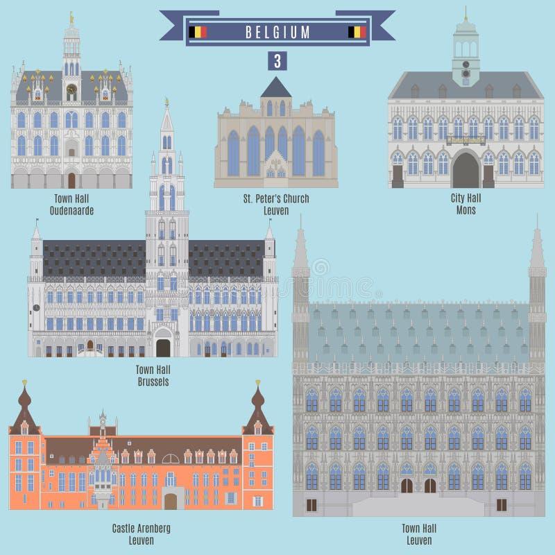 Beroemde Plaatsen in België vector illustratie