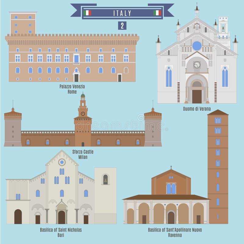 Beroemde Plaatsen in Italië vector illustratie