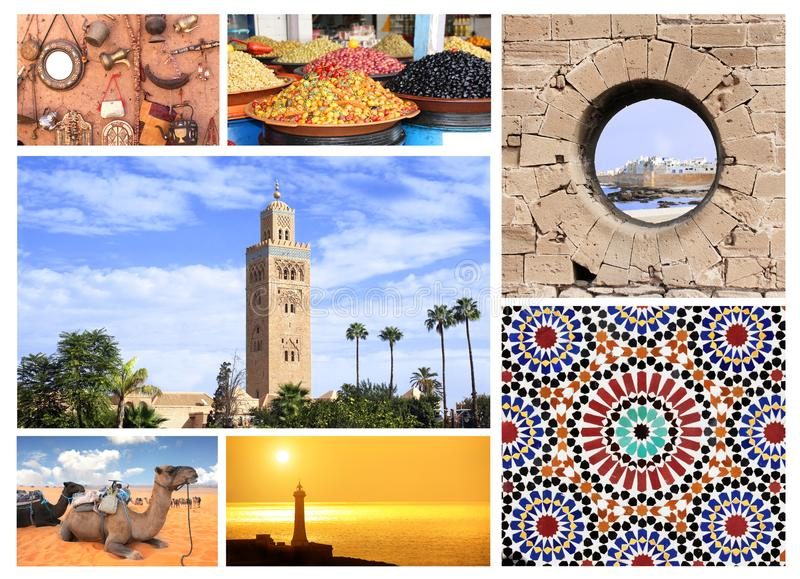 Beroemde plaatsen van Marokko stock afbeelding