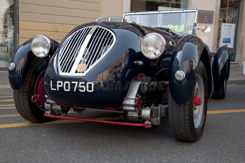 Beroemde ras retro auto's Mille Miglia stock foto's