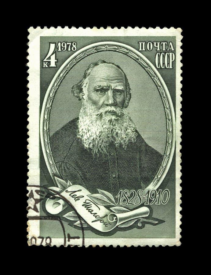 Beroemde Russische schrijver Leo Tolstoy, circa 1978, stock foto's