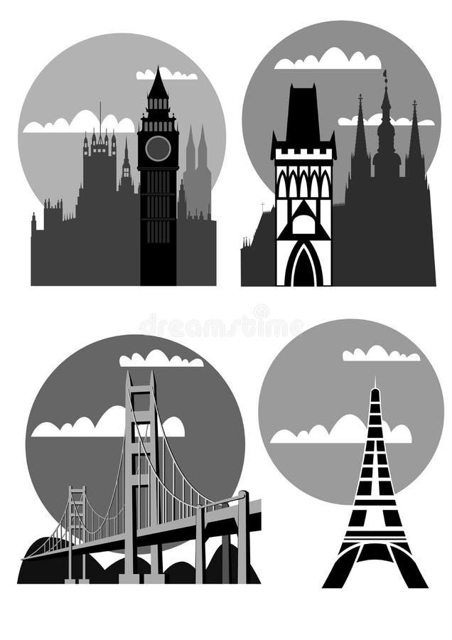 Beroemde steden en plaatsen - vector vector illustratie