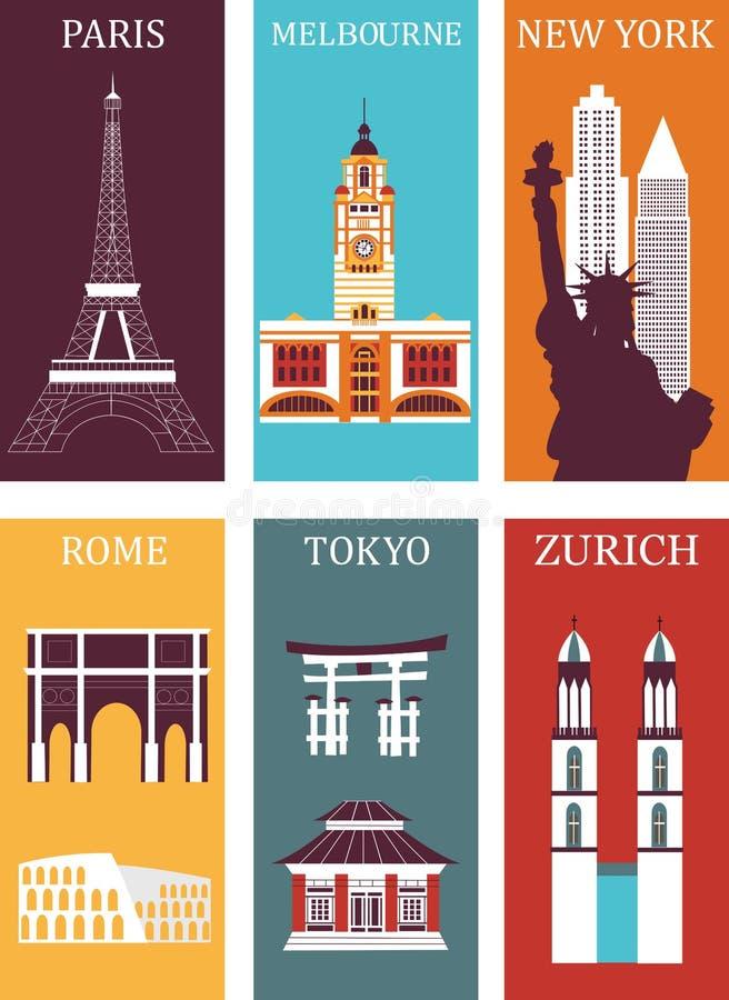 Beroemde stedeninzameling royalty-vrije illustratie