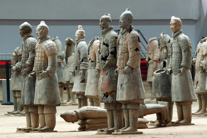 Beroemde terracottastrijders in Xian, China royalty-vrije stock foto's