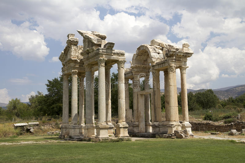 Beroemde Tetrapylon-Poort in Aphrodisias stock fotografie