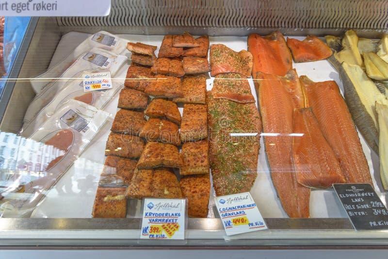 Beroemde Vissenmarkt in Bergen royalty-vrije stock afbeeldingen