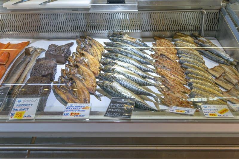 Beroemde Vissenmarkt in Bergen stock afbeelding