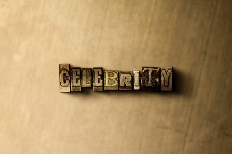 BEROEMDHEID - close-up van grungy wijnoogst gezet woord op metaalachtergrond royalty-vrije illustratie