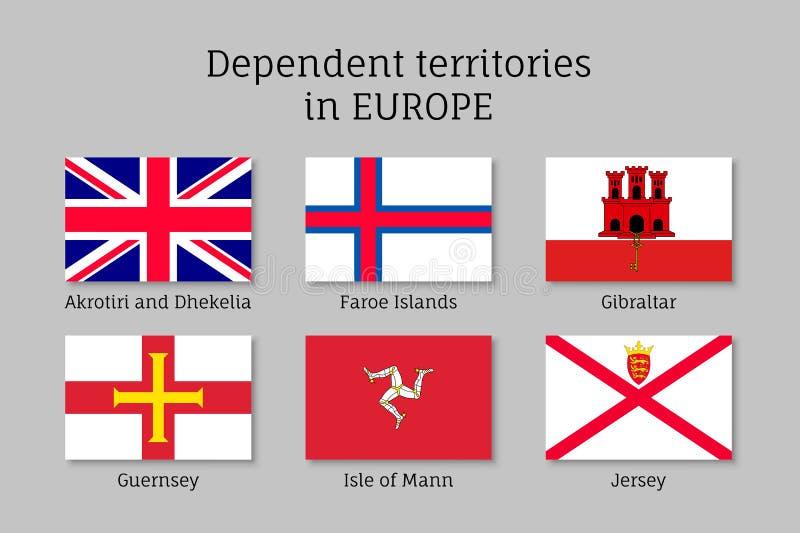 Beroende samling för territoriumflaggavektor stock illustrationer