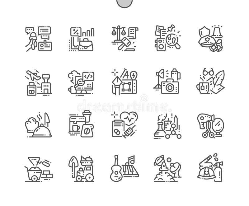 Beroepen goed-Bewerkte Pictogrammen 30 van de Pixel Perfecte Vector Dunne Lijn 2x-Net voor Webgrafiek en Apps royalty-vrije illustratie