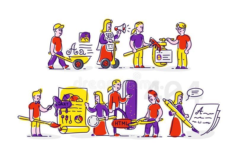 Beroepen van ontwikkelaars, informatietechnologie Vectorpictogrammen, illustratie in een vlakke stijl Illustratie voor Webbanner, royalty-vrije illustratie