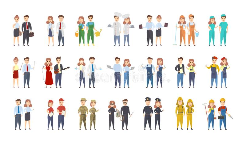 Beroepenmannen en vrouwen vector illustratie