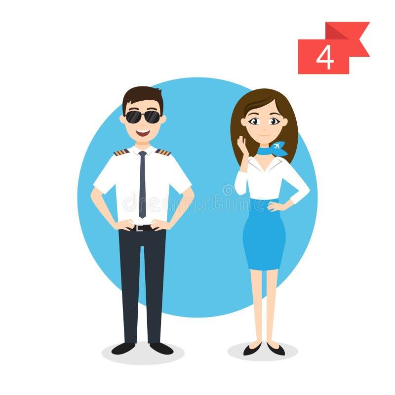 Beroepskarakters: man en vrouw Proef en stewardess royalty-vrije illustratie