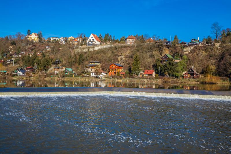 Berounka River - Cernosice, Prague, Czech Republic. Cottage Settlement Next To The Berounka River - Cernosice, Prague, Czech Republic stock photos